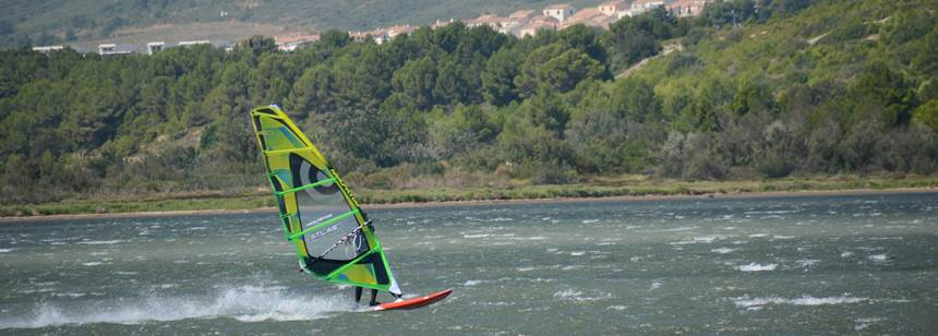 Windsurfing on the lake adjacent to Camping La Nautique, near Narbonne, Languedoc-Roussillon, France