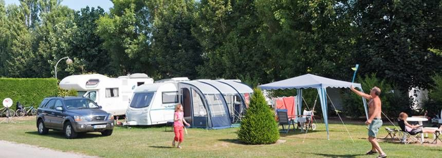 Shaded Grass Pitches at the La Bien Assise Campsite, Guines France