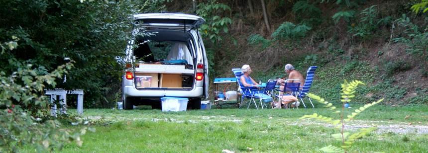 Typical pitches at Camping Indigo Lyon, Dardilly, France