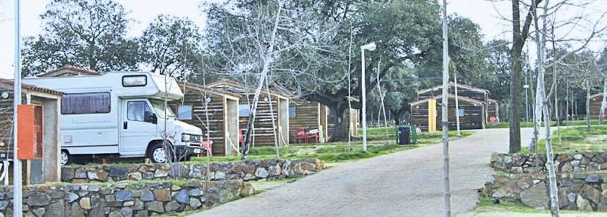 Log Cabins and Grass Pitches at the Caceres Campsite, Caceres Spain