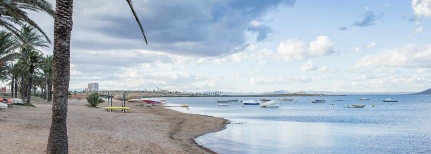 The Mar Menor lagoon beach at Caravaning La Manga, Costa Cálida
