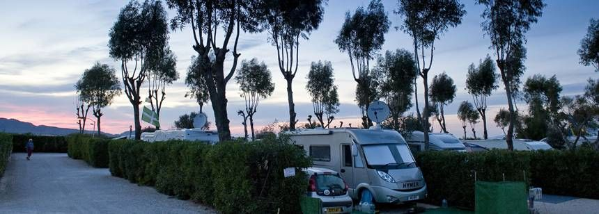 The Sun Setting Over the Caravaning La Manga Campsite, La Manga Del Mar Menor Spain