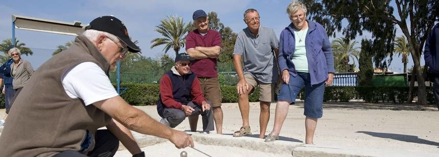 Relaxing and Playing Bowls at the Caravaning La Manga Campsite, Spain