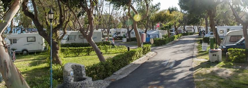 Winter sunshine on the pitches at Camping Castillo de Baños, near La Mamola, Costa Tropical