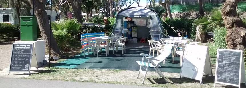 Rally reception tent at Camping Castillo de Baños, near La Mamola, Costa Tropical