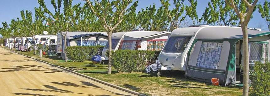 Grass Pitches at the Camping La Aldea Campsite, El Rocio Spain