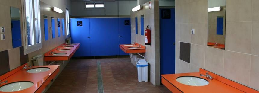 The sanitary facilities at Camping Zarautz, Zarautz, Bilbao and Santander region, Spain