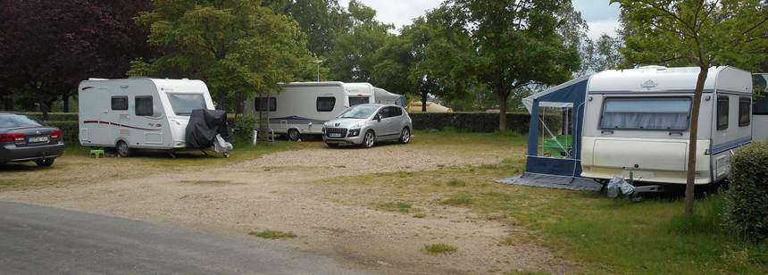 Typical pitches at Camping Le Jardin de Sully, Sully-sur-Loire, France