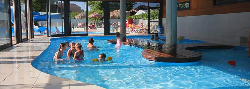 The indoor swimming pool at Camping La Ravoire, Lake Annecy, Alps, France