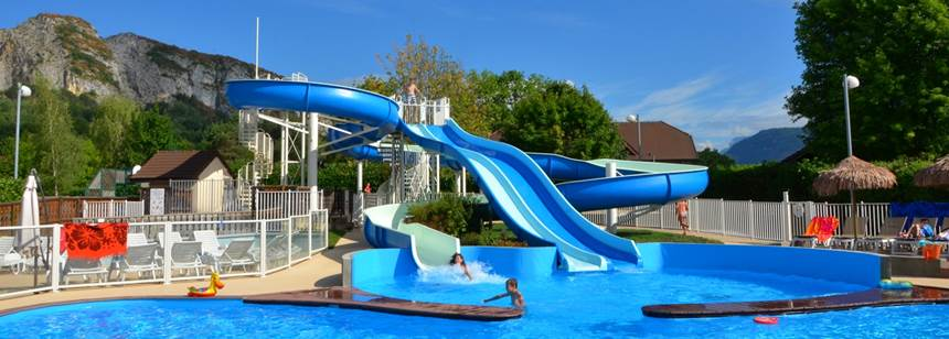 Swimming pools and waterslide Camping La Ravoire, Lake Annecy, Alps, France