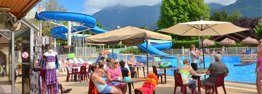 Relaxing on the poolside bar terrace at Camping La Ravoire, Lake Annecy, Alps, France