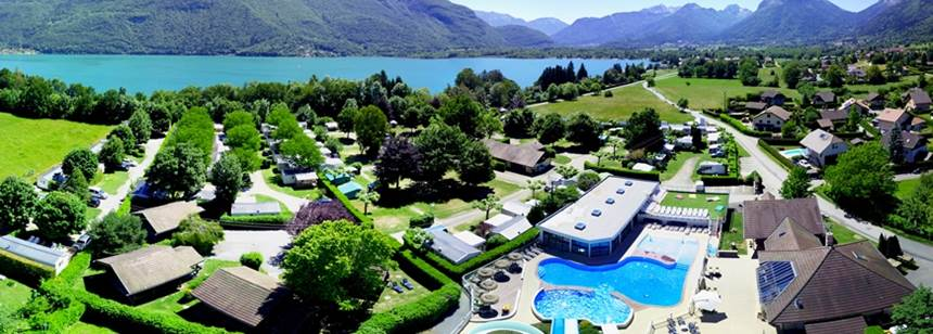Aerial view of Camping La Ravoire, Lake Annecy, Alps, France