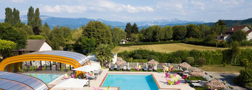 Pools with a view, Camping la Coin Tranquille, French Alps, France