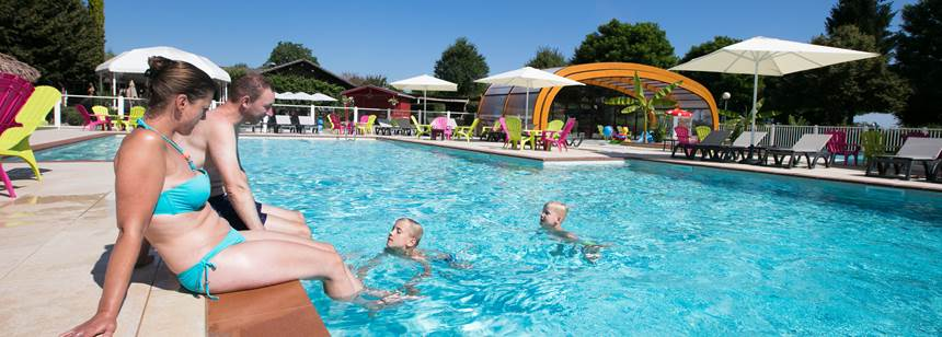 Covered and outdoor swimming pools, Camping le Coin Tranquille, French Alps, France