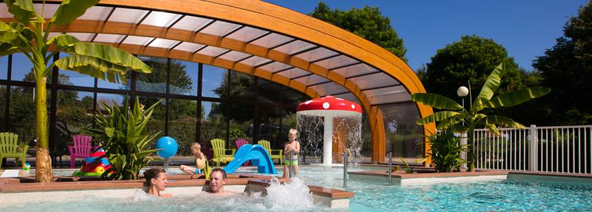 Fun in the covered pool, Camping le Coin Tranquille, French Alps, France