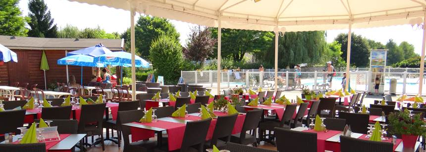 The restaurant terrace, Camping le Coin Tranquille, French Alps, France