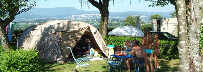 Pitch looking towards the Chartreuse mountains, Camping le Coin Tranquille, French Alps, France