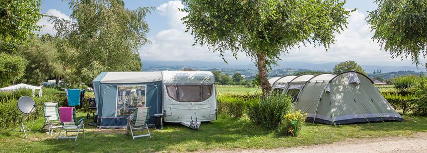 Camping pitches, Camping le Coin Tranquille, French Alps, France