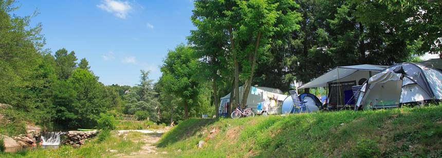 Some of the pitches as Camping les Ranchisses, Ardèche, France.