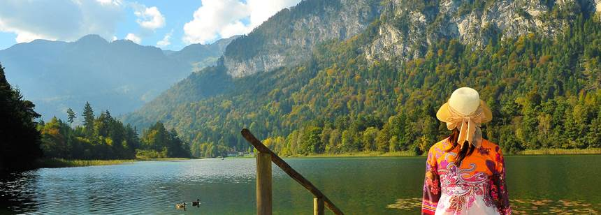 View across the lake, Seeblick-Toni campsite, Austria