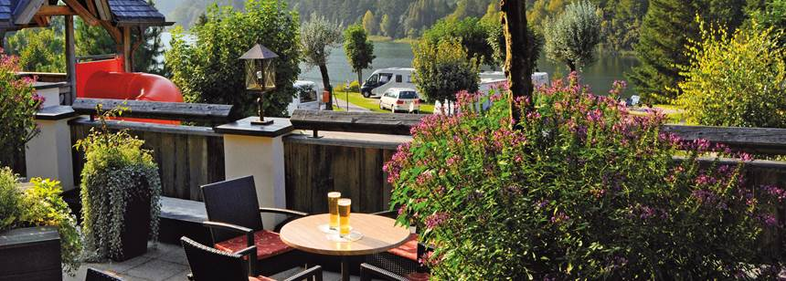 The bar terrace, Seeblick-Toni campsite, Austria