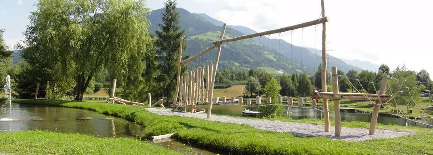 Low ropes adventure course at Camping Sportcamp Woferlgut campsite, Austria