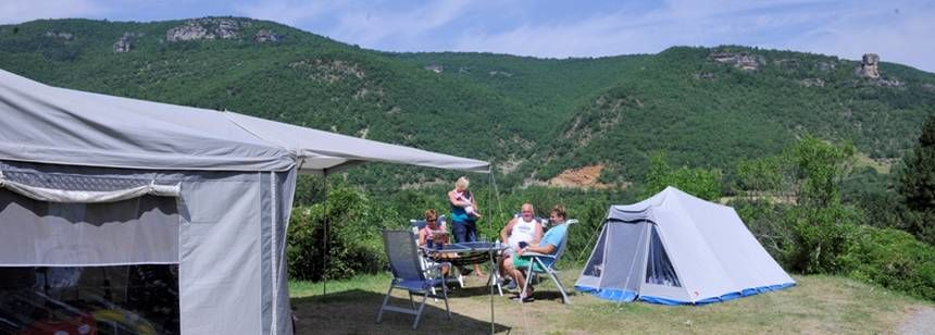 View from the terraced pitches at Camping Val de Cantobre, Dourbie Gorge, near Millau