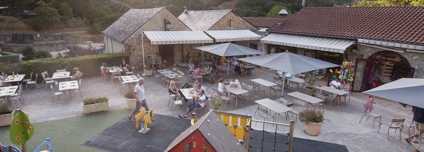 Restaurant terrace at Val de Cantobre, Gorges de Dourbie, France