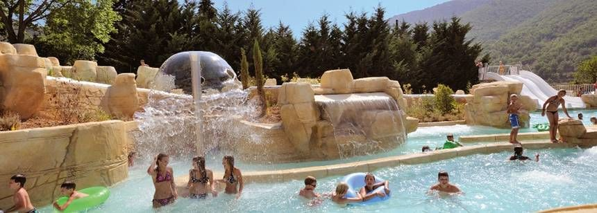 View from the swimming pools and waterslides at Camping Val de Cantobre, Dourbie Gorge, near Millau