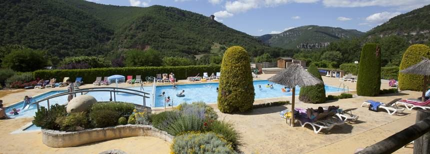 Swimming pool complex at Val de Cantobre, Gorges de Dourbie, France