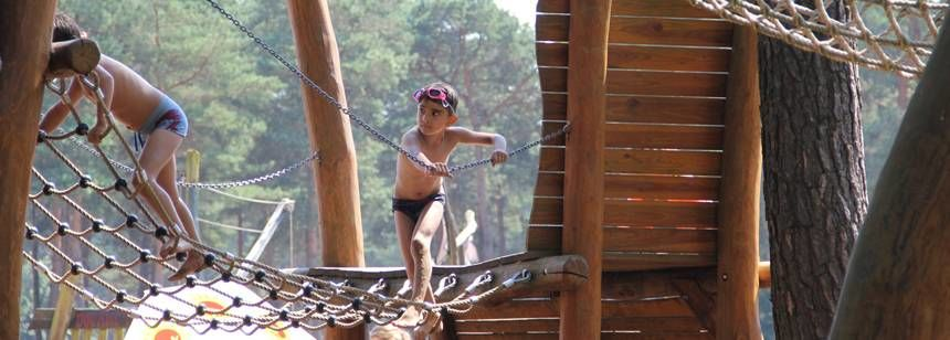 Fun for children at camping de Lilse Bergen, Lille-Gierle, Belgium.