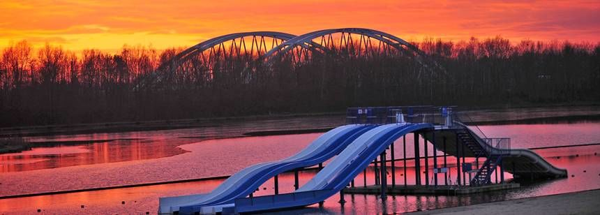 Sunset over the lake at Camping Blaarmeersen, Ghent, Belgium