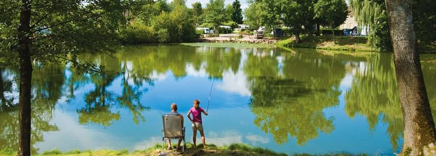 Fishing at the lake at Château de l'Epervière, France