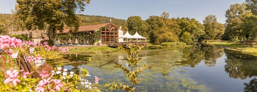 The restaurant and terrace at Camping La Forge de Sainte-Marie, near Joinville, Champagne-Ardenne, France