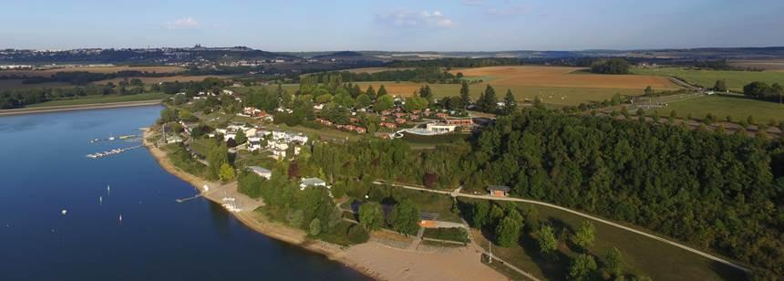 Arial view of Camping Lac de la Liez, Peigney, Champagne, Burgundy, France