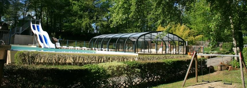 The covered pool at Le Vézère Périgord, Tursac, Dordogne, France.