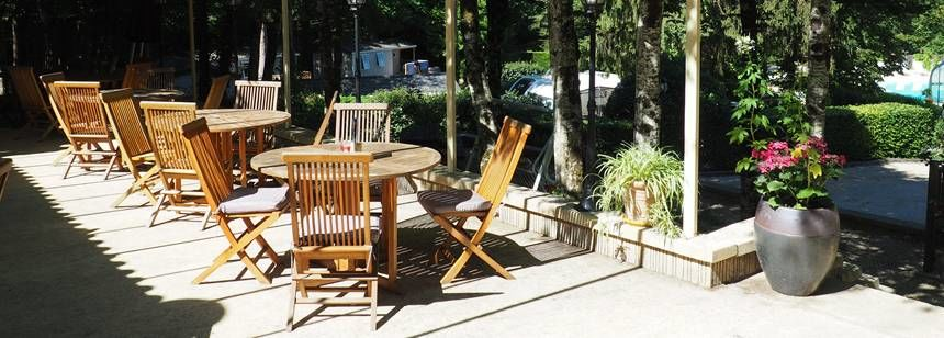 Bar terrace at Le Vezere Perigord, Tursac, France