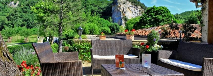 The bar terrace view at Camping Soleil Plage, Dordogne