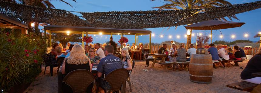 The Marlin beach bar at Camping Aquarius, Sant Pere Pescdor, Costa Brava, Spain