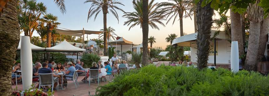 Restaurant terrace at Camping Aquarius, Sant Pere Pescdor, Costa Brava, Spain