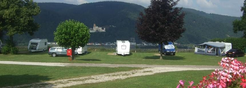 Secluded Grass Pitches in the Scenic Burg Lahneck Campsite, Germany