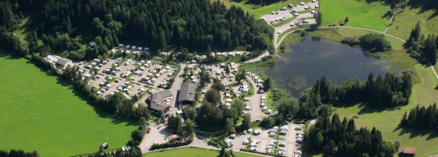 Aerial shot of Camping Tennsee, Bavaria, Germany
