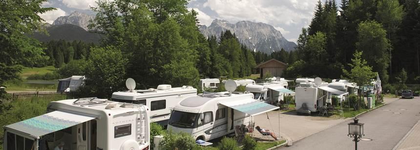 Stunning mountain backdrop at Camping Tennsee, Bavaria, Germany