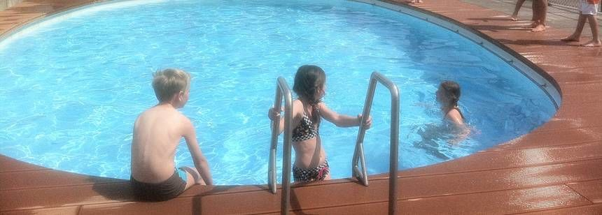 The heated swimming pool at Camping Vinkenhof, Schin op Geul, Netherlands