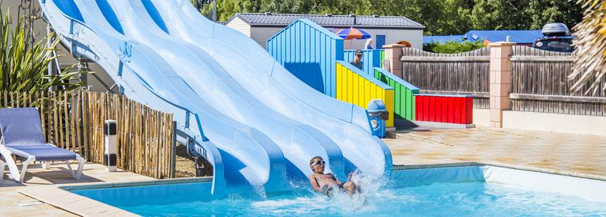 Water Slides and Childrens Play Area at the Domaine D'Oléron Campsite, France