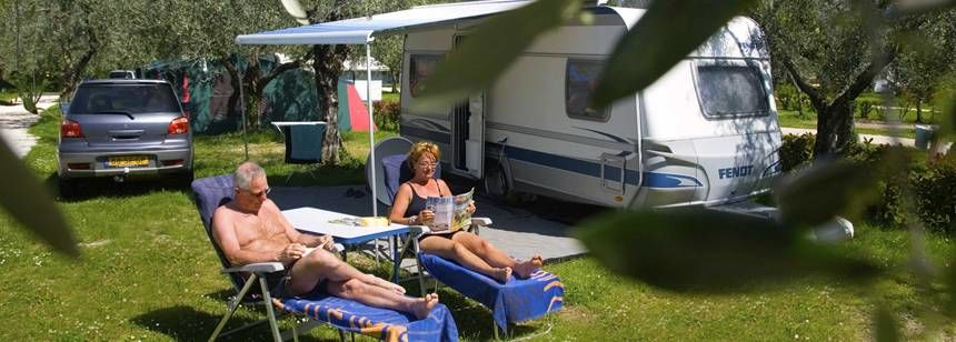 A standard pitch at Camping Weekend, Lake Garda, Italy