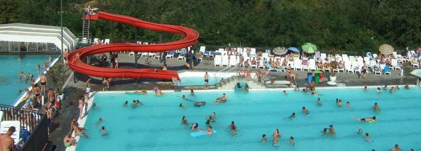 Swimming Pool Water Slides at the Norcenni Girasole Campsite, Italy