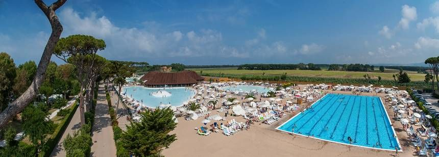 The fabulous pool area at Camping Park Albatros, San Vincenzo, Italy.