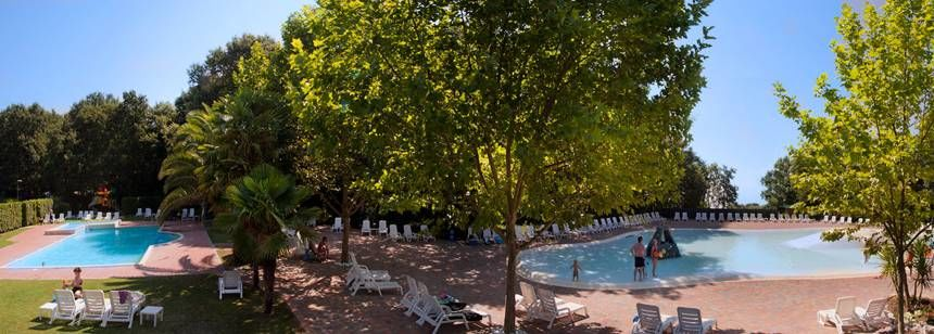 Scenic Views of the Swimming Pools at the I Pini Family Park Campsite, Italy