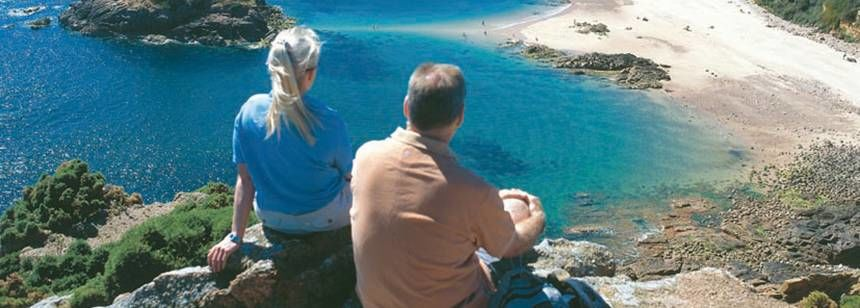 Enjoying the Scenice Views of the Beach Near Beuvel and e Campsite, Channel Islands